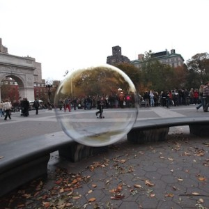 Boy in Bubble, Wa Square Park November 2011 (after memorial for Howard Moody).