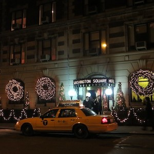 Washington Square Hotel festively lit up