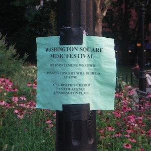 Washington Square Music Festival Moved Indoors Last Night; One More Concert Left in the Season (Hope it's in the Park!)