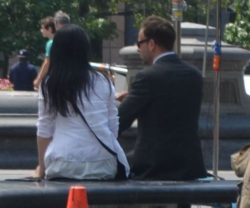 "Lisa Liu, Jonny Lee Miller ""Elementary"" in the Fountain"