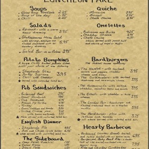 Mr. William Shakespeares Menu, 176 MacDougal Street (Circa 1987)