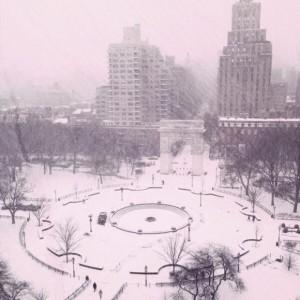 Washington Square Park Snow Storm 2014