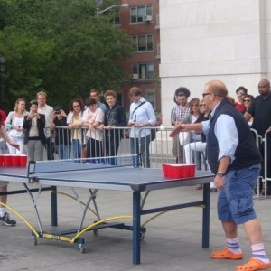 Remember when Mike Myers and Mario Batali Played Ping Pong at the Park and Went Atop the Arch? Footage Finally Appears On New Batali Hulu Show
