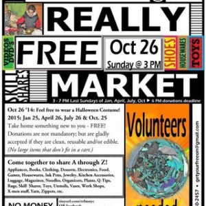 Sunday 10/26 Come to the Really Really Free Market at Judson Church Across from the Park – Reduce, Reuse, Drop Off & Pick Up