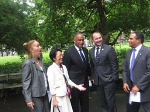 Manhattan Borough President Gale Brewer, City Council Member Margaret Chin, Parks Commissioner Mitchell Silver, City Council Member Corey Johnson, DE