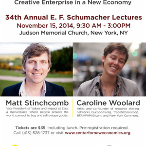 Sustainable Economy, the Creative Sector and Community will be Focus of Lecture at Judson Church Saturday, November 15th