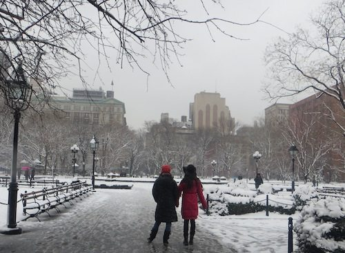 Washington Square Park/All NYC Parks Close 6 p.m. Today Monday Jan. 26 #Blizzardof2015