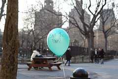 NYU students balloon protest - Save the Park (2008)