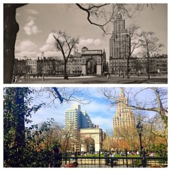 Looking North at Arch: 1936 photo by Bereneice Abbot, 2015 by Carina Zimmerman