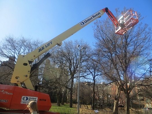 Cherry Picker for LED lighting being installed