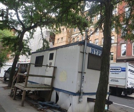 NYPD trailer previously outside Washington Square Park
