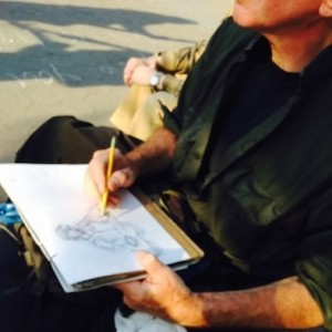 "Washington Square Park Artist Draws Guitarist ""Sheriff"" Bob"