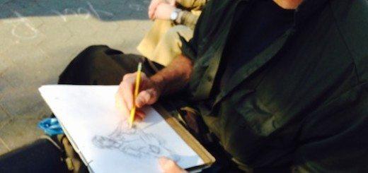 Artist Jon Rettich draws Sheriff Bob Washington Square Park