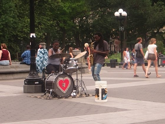 drummer-saxophone-fountain-plaza-washington-square-park