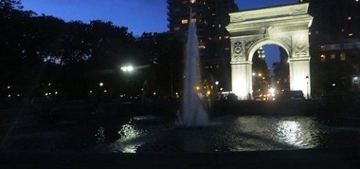 Fountain and Arch at night summer Washington Square Park
