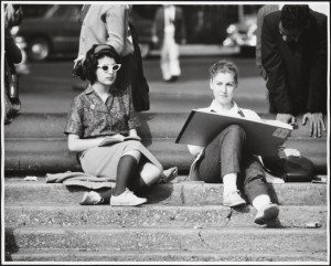 girl with sketchpad on fountain steps washington square park 1956