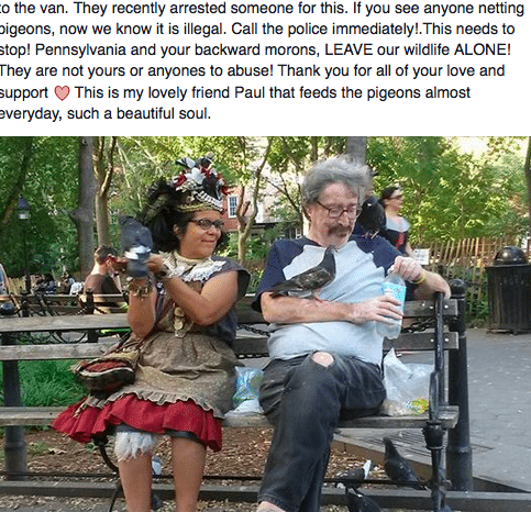 Tinas facebook post - Tina with Paul, another pigeon friend