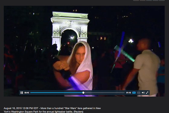 2015 Lightsaber Battle (Still from CBS News piece)