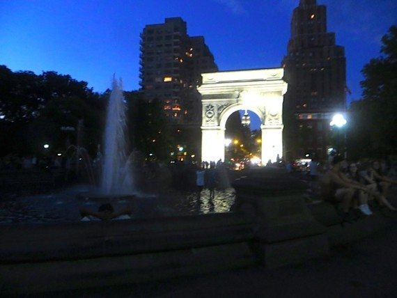 nightime summer washington square park fountain arch