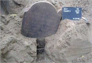 Tombstone from 1799 discovered during 2009 construction at park