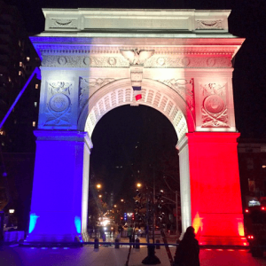 Washington Square Arch, Modeled After Arc de Triomphe, Will Shine French Flag Colors Again Tonight