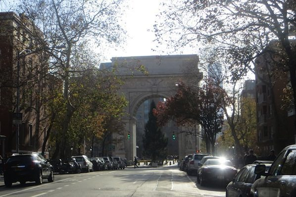 View from Fifth Avenue Washington Square Park Greenwich Village Christmas Tree