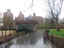 Photo shortly after completion Washington Square Park bathroom building