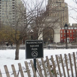 Classic Washington Square Park in Winter