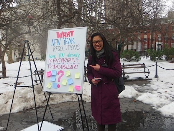 sister Wendy Tzeng What resolutions have you broken Washington Square Park