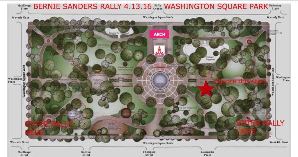 Washington Square Park Map Bernie Sanders Rally