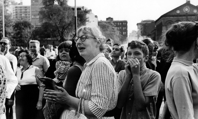 Jane Jacobs at Community Meeting Washington Square Park 1963