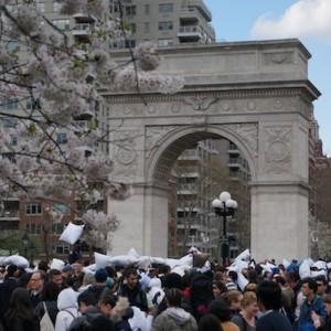 Pillows and Feathers Fly (Again) at Washington Square Park Pillow Fight Day
