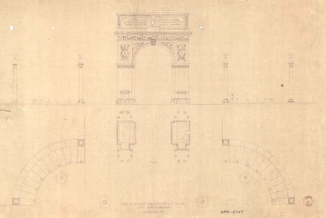 Washington Memorial Arch Original Plans