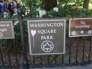 love. washington square park signage