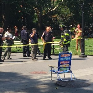Manhole Explosion Near Fountain at Washington Square Park Today