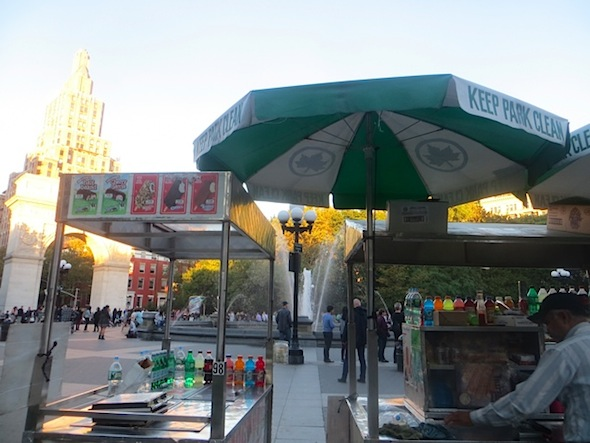 food cart vendor fountain plaza washington square park
