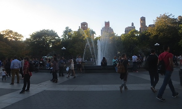 fountain plaza washington square park fall