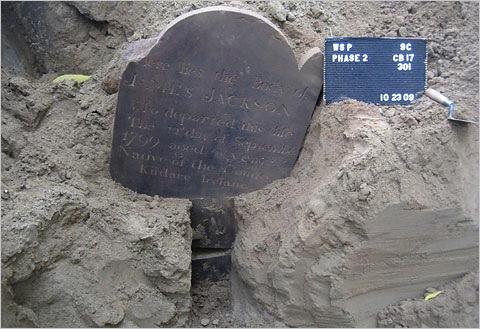 James Jackson Headstone discovered Washington Square Park 2009