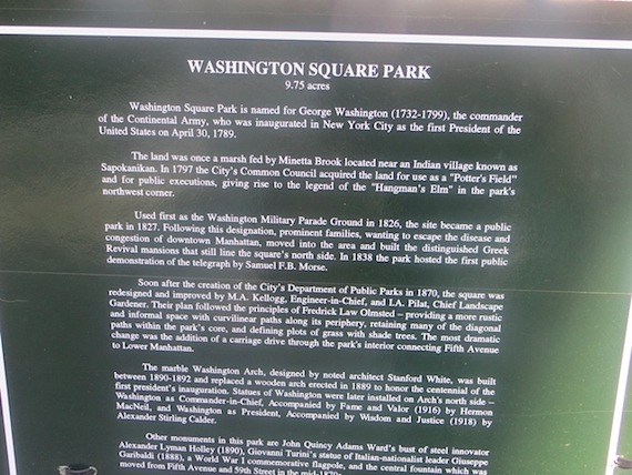 Washington Square Park history Parks Department signage