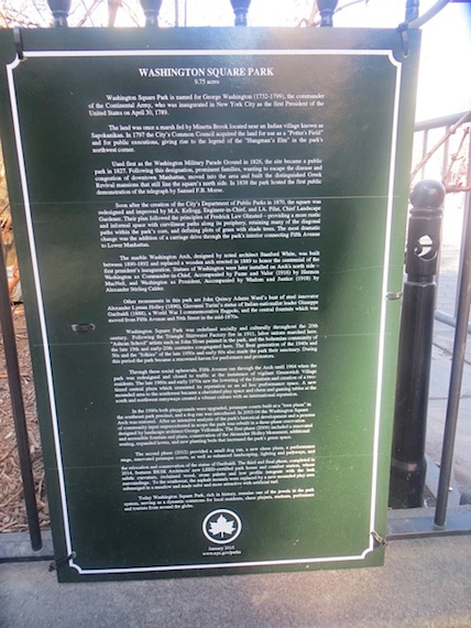 Washington Square Park Parks Department signage