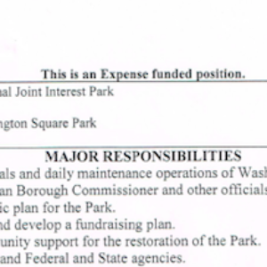 Washington Square Park Seeks New Park Administrator | Time to Separate Public Park Positions from Private Conservancies