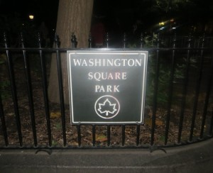 washington square park parks department sign