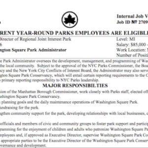 Private Conservancy Caused Washington Sq Park Public Administrator Position to be Vacant for Nine Months | What Will Happen This Time?