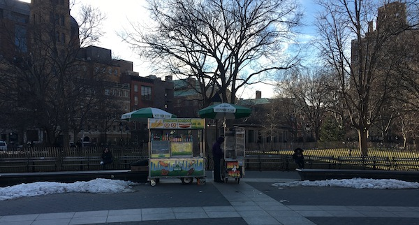 Lonely lone hot dog vendor