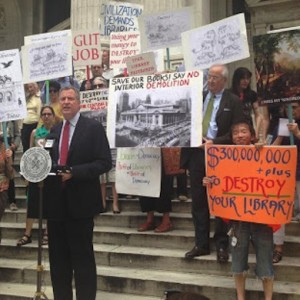 bill de blasio as public advocate defending libraries 2013