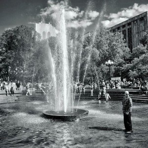 Man in the Fountain, Washington Square Park Summer