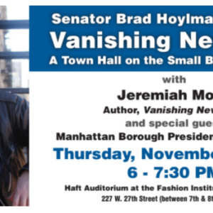 """Vanishing"" NYC Small Businesses Town Hall with State Senator Hoylman and Blogger Jeremiah Moss Nov. 9"