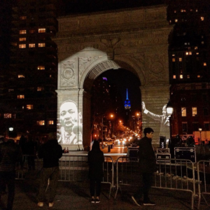Images of Dr. King projected on the #WashingtonSquareArch