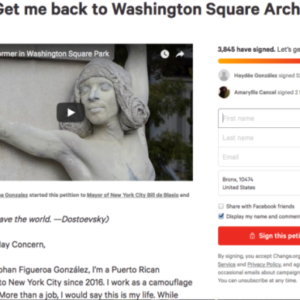 """Living Statue"" Petitions to get Back to Washington Square Arch"