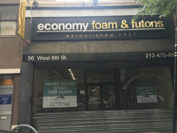 West 8th Street And Macdougal Now Look A Bit Bleaker Economy Foam Futons In Business Since 1937 Closed May 1st Departing For